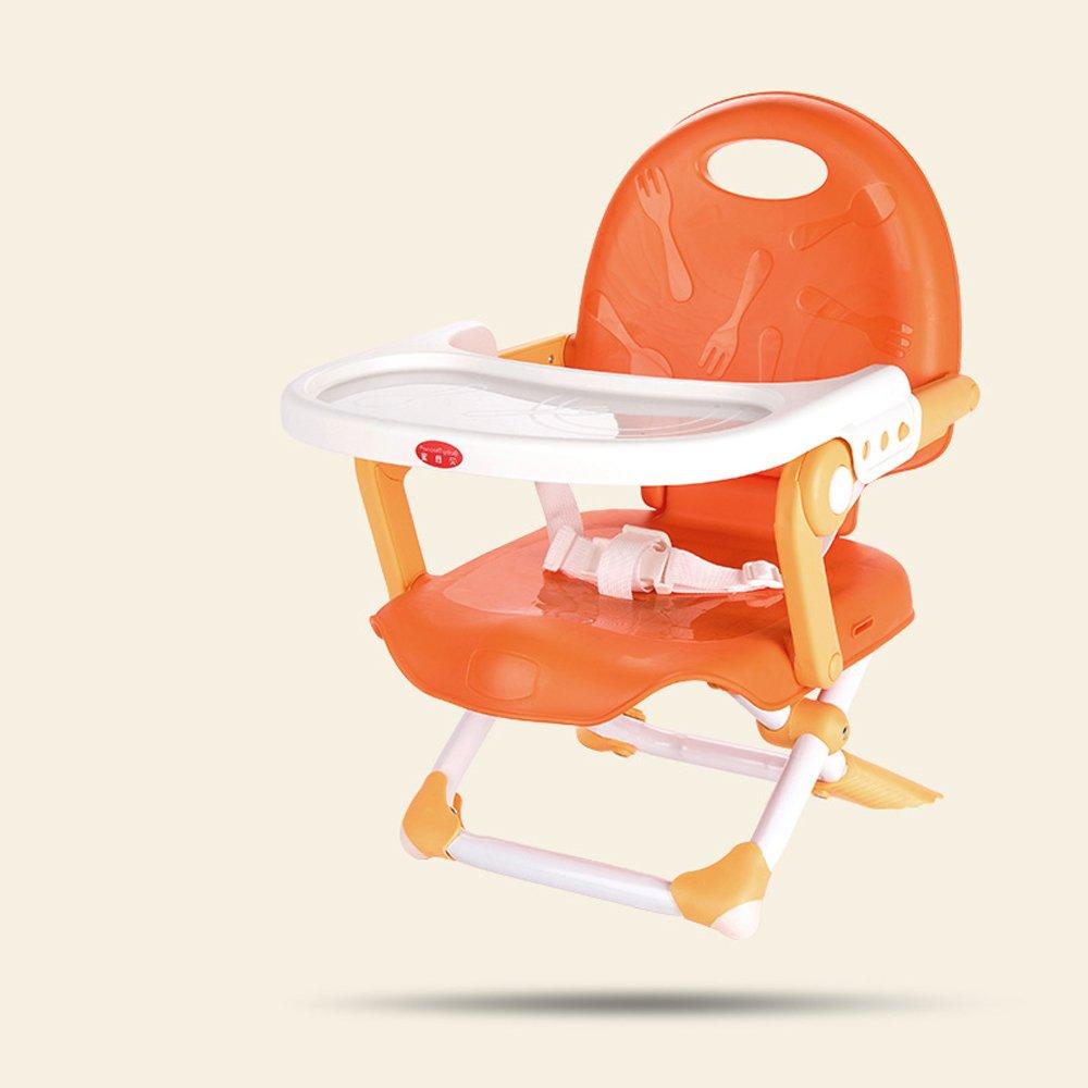 ポータブルベビーチェア、折り畳まれた赤ちゃんの授乳マット、プラスチック製の子供の食事の椅子、BB多機能ハイチェア、0~4歳に適し、L36cm * W34cm * H36~49cm (Color : Orange)  Orange B07DZ5T8G7