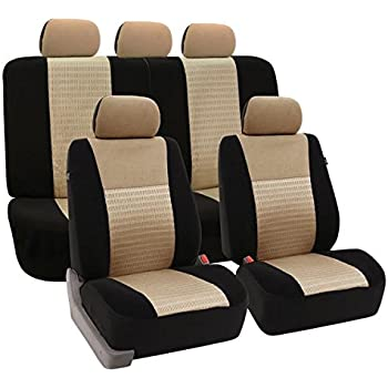 FH GROUP FB060114 Trendy Elegance Full Set Car Seat Covers Airbag Compatible And Split Bench Beige Black Color Fit Most Truck Suv Or Van