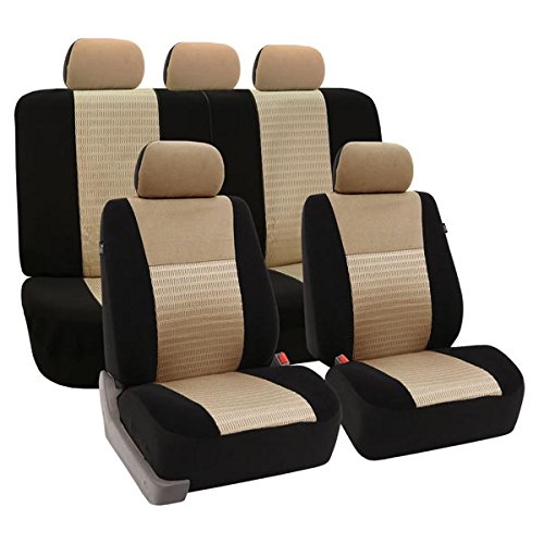 FH GROUP FH-FB060114 Trendy Elegance Full set Car Seat Covers , Airbag compatible and Split Bench ,Beige / Black color- Fit Most Car, Truck, Suv, or Van