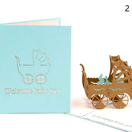 Amazon binglinghua handmade 3d pop up congratulation greeting binglinghua handmade 3d pop up congratulation greeting cards for newborn babies gifts new parents blue m4hsunfo