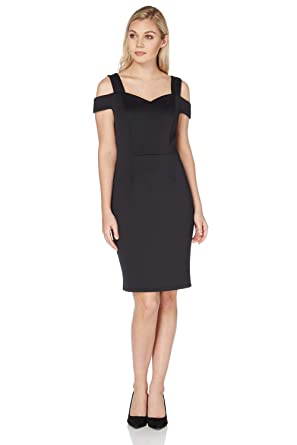 Roman Originals Womens Sweetheart Cold Shoulder Little Black Dress