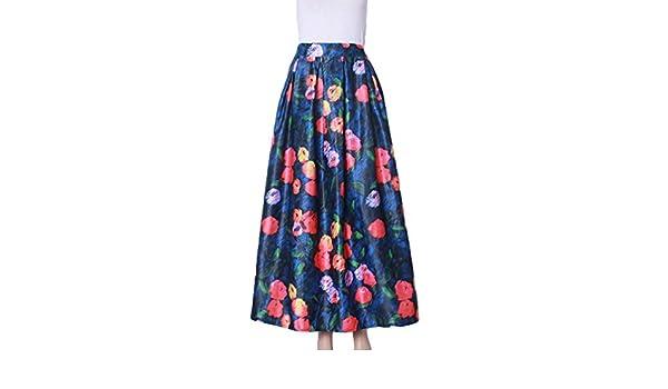 ZKOO Mujer Chicas Impreso Patrón Minifalda Verano Plisada Midi ...