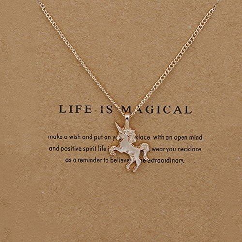 Bluelans Women Unicorn Necklace Pendant Gold Clavicle Chains Choker Jewelry Gift Party (Gold Wrap Necklace)