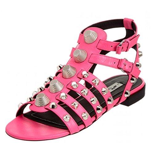Enmayer Femmes Semelle En Caoutchouc Bout Rond Boucle Sangle Rivets Casual Plat En Cuir Sandales Chaussures Rose