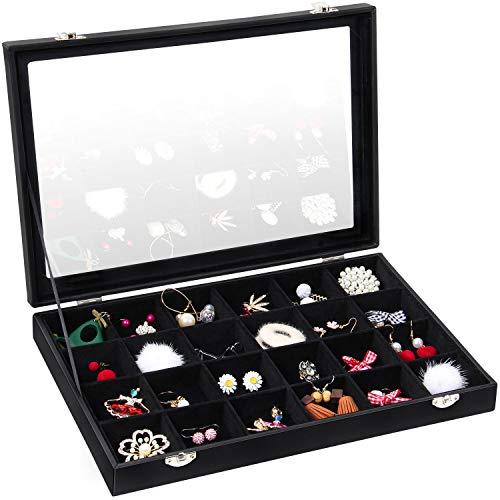Valdler Velvet Clean Lid 24 Grid Jewelry Tray Jewelry Box Showcase Display Organize