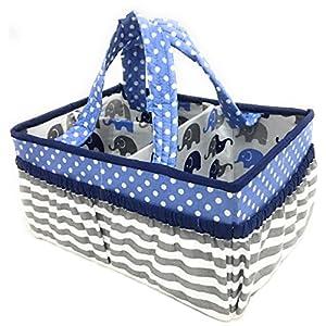 Bacati Elephants Nursery Fabric Storage Caddy with Handles, Blue/Grey