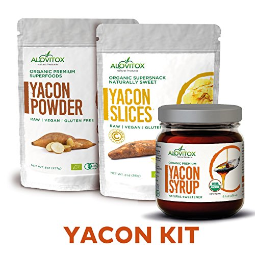 Yacon Kit - Syrup, Root Powder, and Slices - Natural Sweetener, Pure Raw, Vegan, Paleo Friendly - Antioxidant, Probiotic, Energy, Fiber Weight Loss Ghrelin Diet, Inulin FOS - Yacon Combo by Alovitox