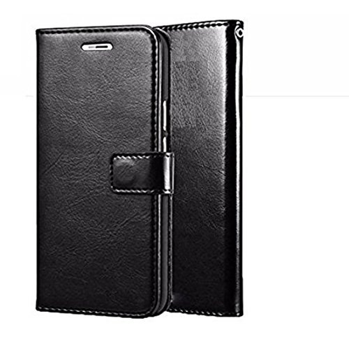 nkarta  tm  vintage leather wallet Flip Cover book cover case for motorola moto x play   black