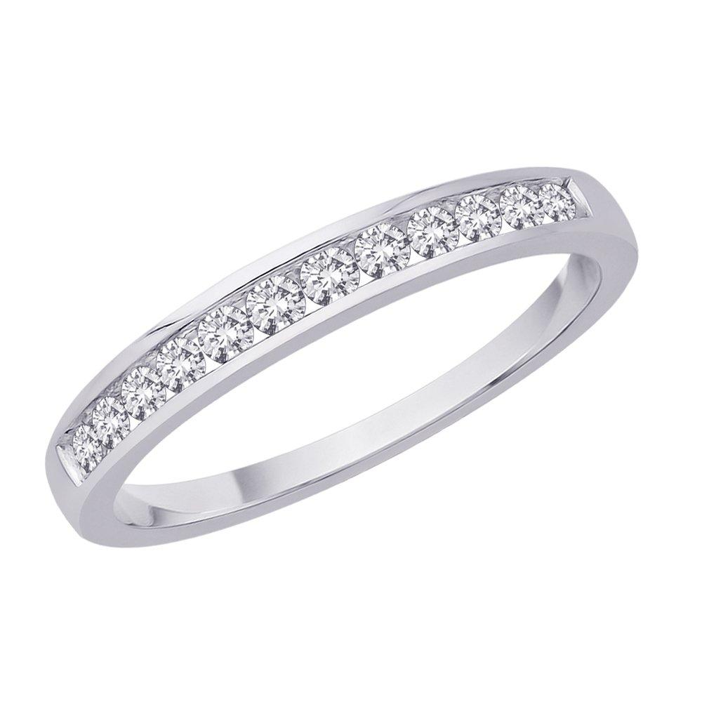 12-Stone Diamond Band in 10K White Gold (1/4 cttw)