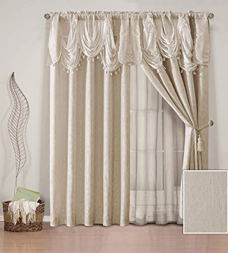 (Elegant Home Window Curtain Drapes All-in-One Set with Valance & Sheer Backing & Tassels for Living Room, Bedroom, Dining Room, and Sliding Doors - Natash (Biege))