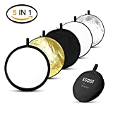 ESDDI 32inch 5-in-1 Round Photography Reflector Portable Collapsible Multi-Disc Light Reflector with Bag, Silver, Gold, White, Translucent and Black for Studio or any Photography Situation