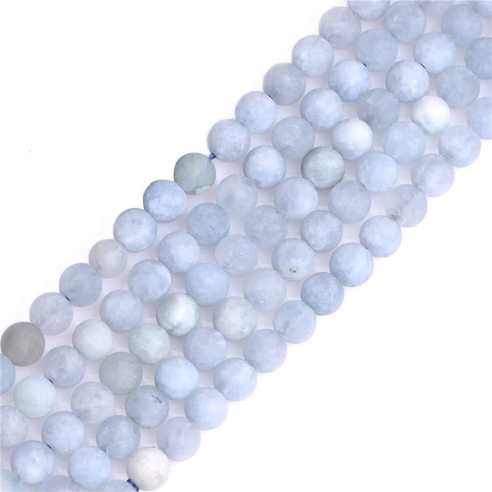 Natural 6mm azul aguamarina Piedra Gemstone Semi preciosos mate cuentas redondas de cristal esmerilado para fabricación de joyería