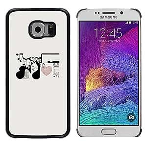 FECELL CITY // Duro Aluminio Pegatina PC Caso decorativo Funda Carcasa de Protección para Samsung Galaxy S6 EDGE SM-G925 // Music Notes Heart Love Girl Pen Art