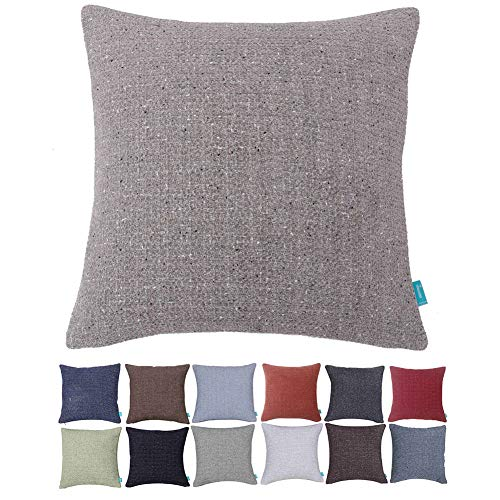 (Home Plus Cushion Covers 18x18 Throw Pillow Covers Beige Cream Decorative Pillow Covers for Couch Set of 2 Throw Pillow Case Cream Farmhouse, Solid Color 2 Pack)