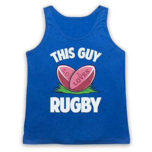 This Guy Loves Rugby Rugby Slogan Camiseta de Tirantes Azul Real