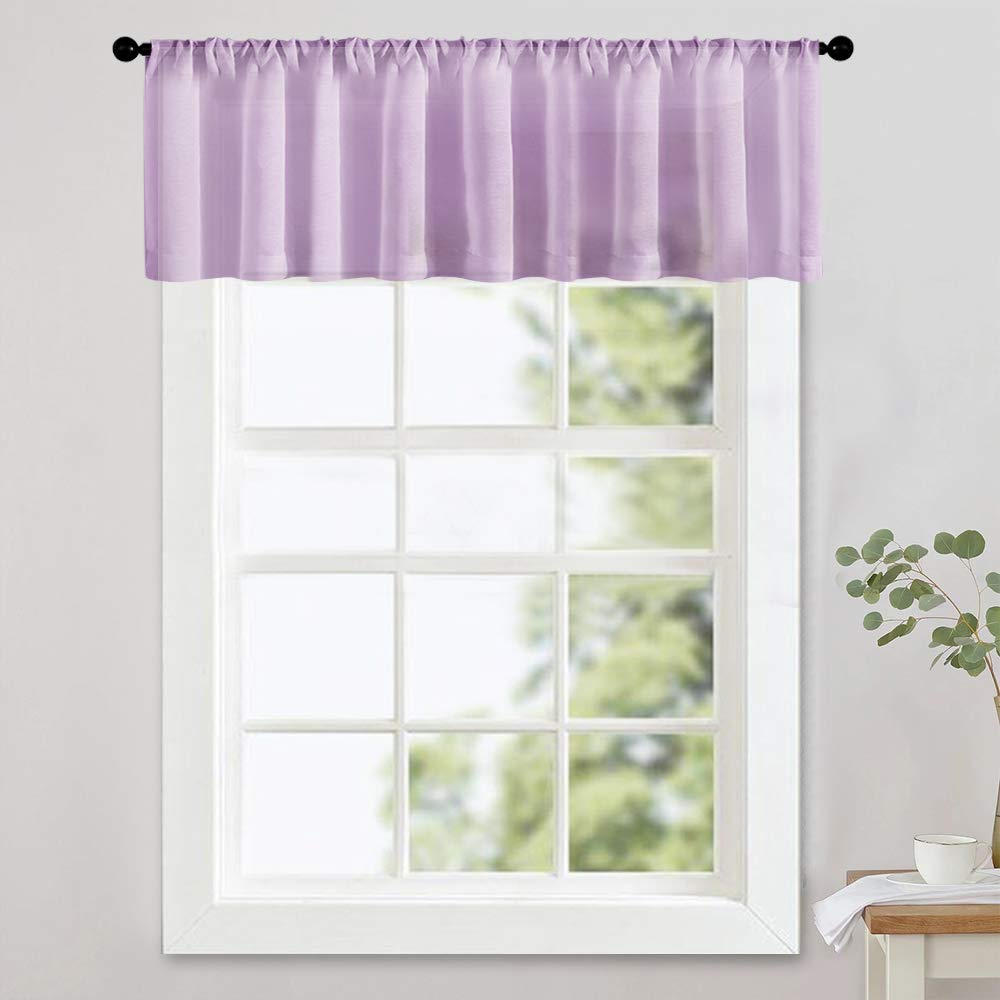 MRTREES Sheer Valances 16 inch Living Room Windows Voile Valance Bedroom  Curtain Valances Sheer Rod Pocket Window Treatment Light Filtering 1 Panel  ...