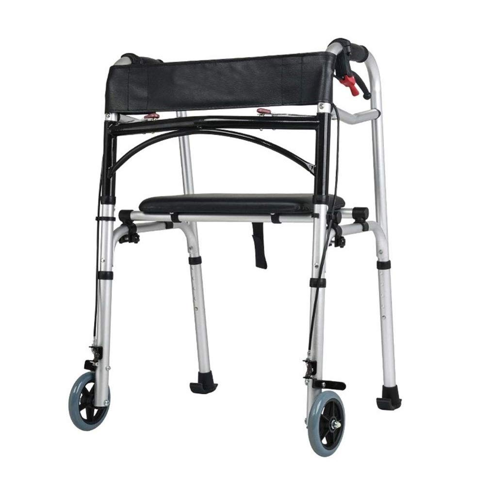 Premium Lightweight Foldable Aluminum Rollator Walker,Adjustable Handle Height with Backrest Auxiliary Walking Safety Walker by YL WALKER