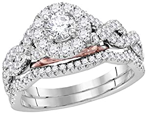 14kt White Gold Womens Round Diamond Solitaire Bellissimo Bridal Wedding Ring Set 1.00 Cttw