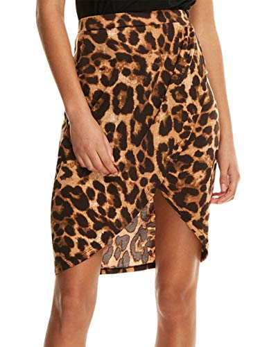 SheIn Women's Casual Split Warp Asymmetrical Elastic High Waist Mini Short Skirt Large Leopard
