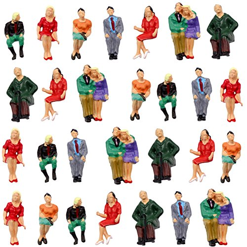 P4805 32pcs All Seated Figures O Gauge 1:50 Scale Painted People Model Railway New