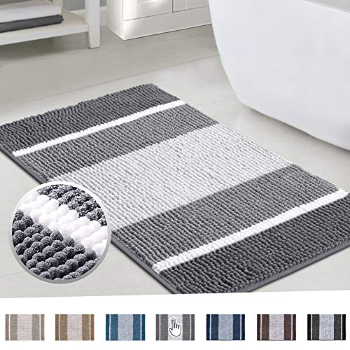 Chenille Plush Microfiber Bath Rugs Gradient Stripe Pattern Ultra Soft Washable Bathroom Floor Mat