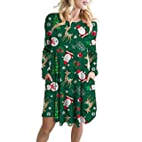 WOCACHI Final Clear Out Christmas Dresses Womens Santa Claus Long Sleeve Snow Party Swing Dress A Line Bodycon Vintage Xmas Evening Prom Costume Maxi Mini Knee Length (Green, Medium)