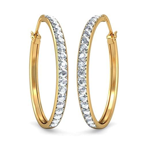 Or jaune 18K 0,38CT TW White-diamond (IJ | SI) Boucles d'oreilles créoles
