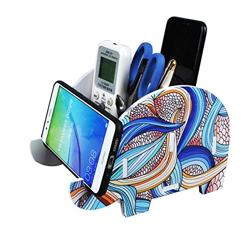HomJoy Elephant Pencil Holder Pen Brush Remote Control Organizer, Wood Desk Organizer for Kids Cellphone Stand for iPhone X 8 Plus Samsung S8 S9 Makeup Brushes ()