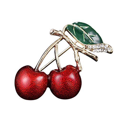 Botrong® Cherry Metal Brooch Pin Button Crystal Brooch Sweater Clip Jewelry (H)