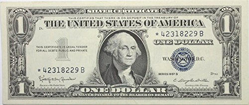 - 1957 *STAR* Note Series B Silver Certificate in Very Good Condition