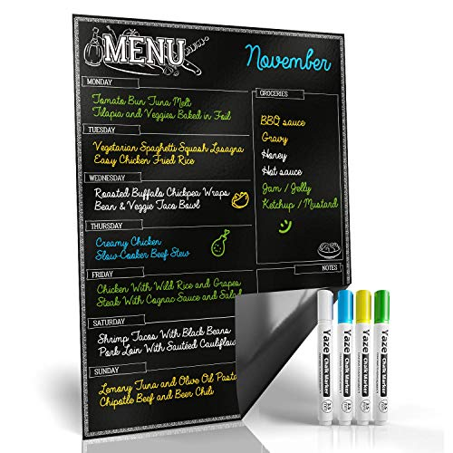 Magnetic Menu Board for Kitchen Fridge with Bright Chalk Markers - 17X12' - Dry...