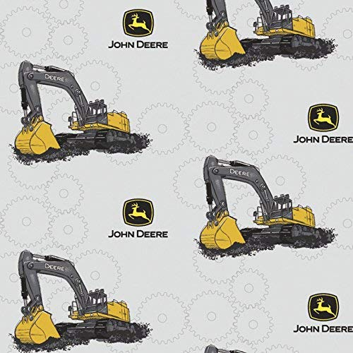 1 Yard - John Deere Backhoe Excavator on Pale Gray Cotton Fabric - Officially Licensed (Great for Quilting, Sewing, Craft Projects, Throw Blankets & More) 1 Yard X ()