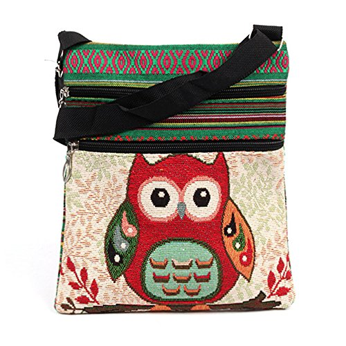 (Womens & Girs Mini Owl Canvas Crossbody Cell Phone Pouch Shoulder Bag, Butterfly (A owl1(7.99.5in)))