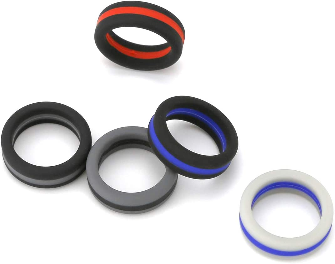 cundo Silicone Wedding Ring for Men Multi Pack Affordable Silicone Rubber Wedding Bands Durable Comfortable Rings