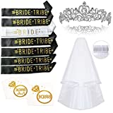 Bachelorette Party Smarimple Bride to Be Kit - 7 Unique Sash for Bride and Bride Tribe, 1 Rhinestone Tiara, 1 Veil, 12 Golden Flash Tattoos, Pack of 21