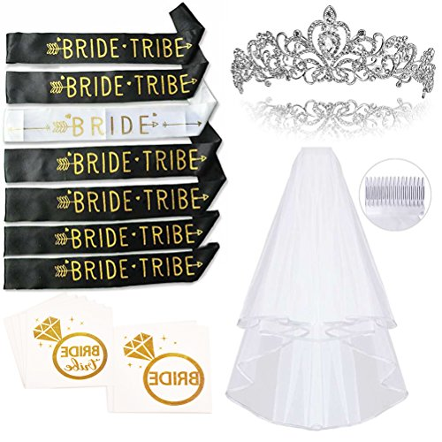 Smarimple Bachelorette Party Bride to Be Kit - 7 Unique Sash for Bride and Bride Tribe, 1 Rhinestone Tiara, 1 Veil, 12 Golden Flash Tattoos, Pack of 21 ()