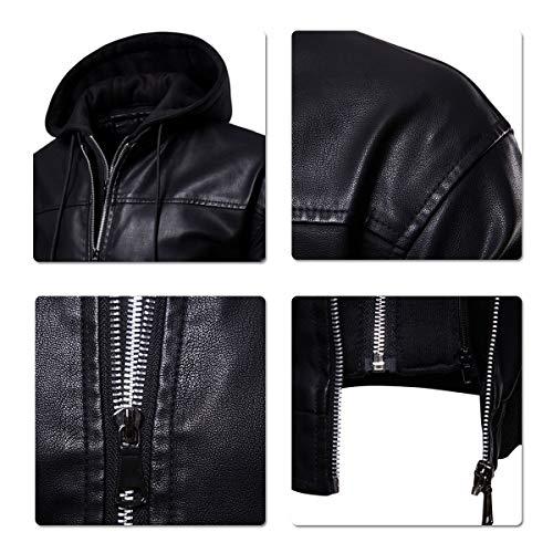 3 Homme Blouson Veste Simili Noir cuir Biker Motard Moto BZq8AZ