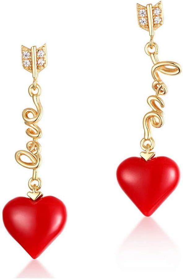 HJTLK Conjunto de Joyas de Boda Conjunto de Joyas con Colgante de Caramelo de corazón, Pendientes de Collar de Coral Rojo de Plata esterlina Joyas de Boda de Playa para Ella