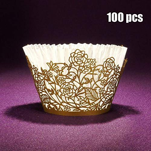 Cupcake Wrappers 100pcs Gold Rose Lace Hollow Cupcake Liners Bake Cake Paper Cups for Wedding Party Birthday Cake Decoration Supplies Kit