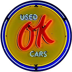 Neonetics 9CHVOK GM OK Used Cars 36 inch Neon Sign in Metal Can, Red, Yellow/Blue Neon