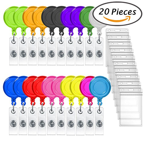 Selizo 20 Packs Retractable Badge Holder Reel Clip with ID Card Holders