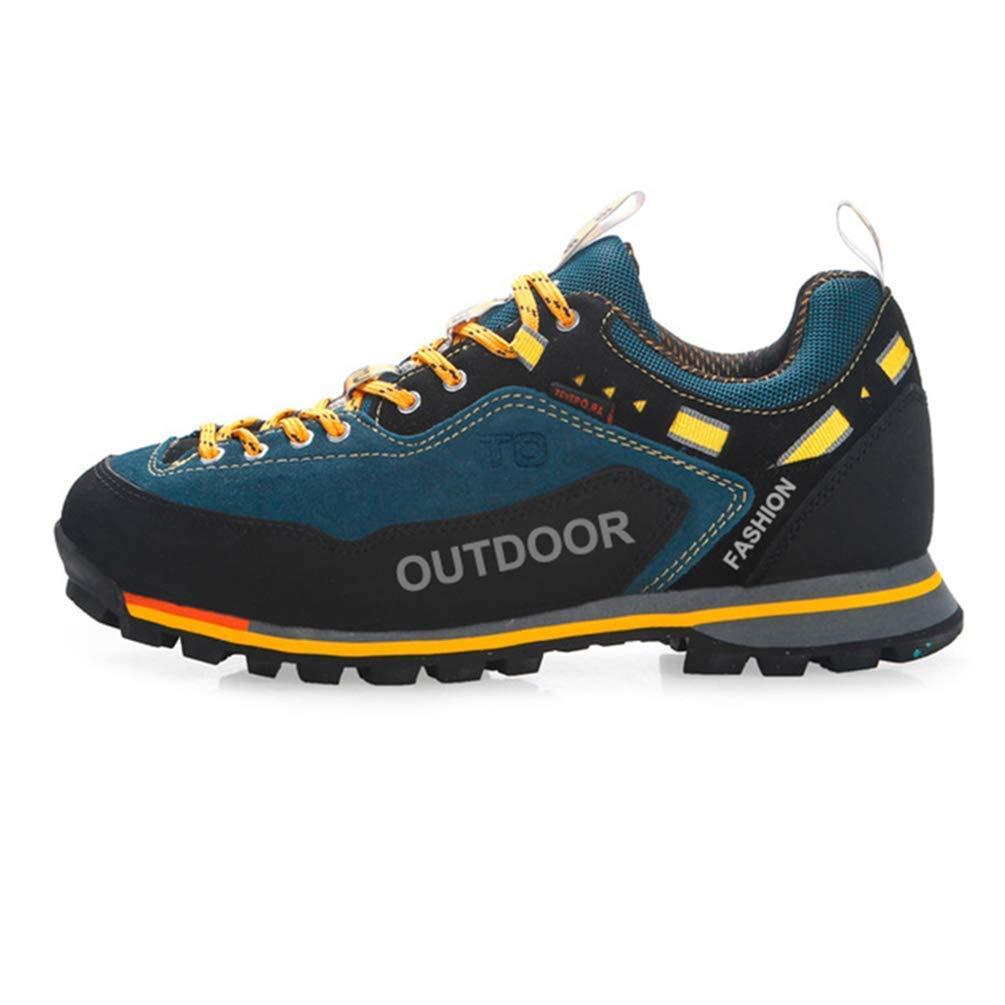 ZHRUI Wasserdichte Wanderschuhe Männer Qualität Outdoor Rutschfeste Trekkingschuhe Atmungsaktiv Wandern Jagd Stiefel (Farbe : Gelb, Größe : 11 UK)