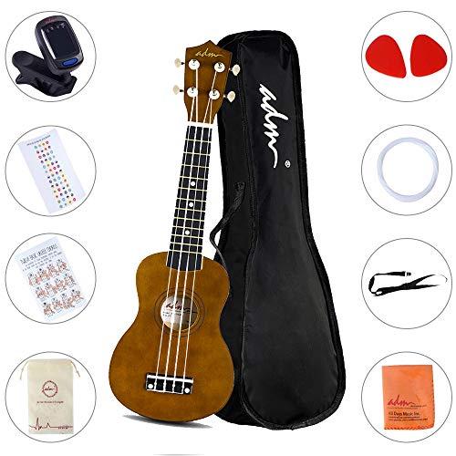 ADM Beginner Ukulele 21 Inch Soprano Kids Starter Pack Bundle with Gig Bag, Strings, Tuner, Fingerboard Sticker, Chord Card, Mocha