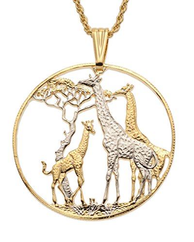 Giraffes World Coin Pendant Neclace