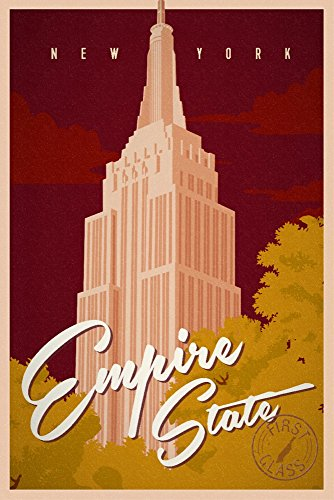 States Poster Stamps - New York City, New York - Empire State Building - Vintage Landmark Stamp (9x12 Art Print, Wall Decor Travel Poster)