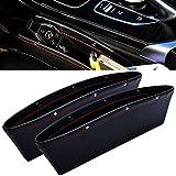 FLY5D 2Pcs PU Leather Car iPocket Box Caddy Car Seat Gap Slit Pocket Storage Organizer (Black)