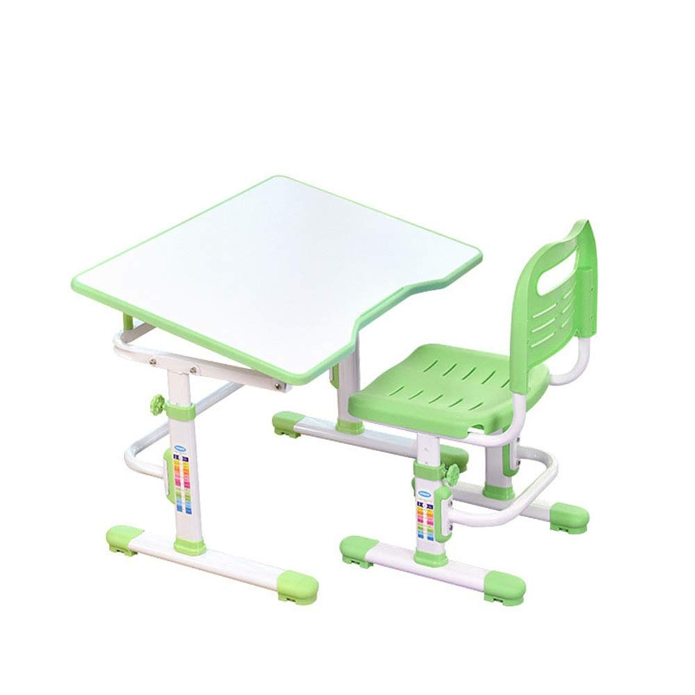 Limaomao-Home Kids' Desks Desk and Chair Set Childen Kids Multi-Functional Study Table School Desk Chair SetStudent Desk Book Stand Height Adjustable That Make Doing Homework More Fun (Color : Green) by Limaomao-Home