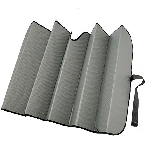 (Motor Trend AS-312-GR_am Front Windshield Sun Shade-Black Jumbo Accordion Folding Auto Sunshade for Car Truck SUV 66 x 27 Inch (Gray))