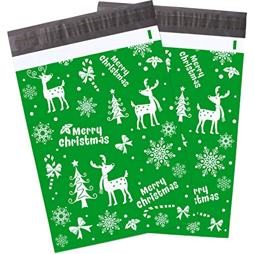 Blulu 10 x 13 Inch Winter Poly Mailers Christmas Mailers Shipping Bags with Snowflakes Holiday Self Sealing Shipping Envelopes Pack of 100 (Green)