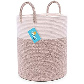 OrganiHaus Cotton Rope Basket in Brown and Off-White | Large Blanket Storage Basket for Living Room with Long Handles